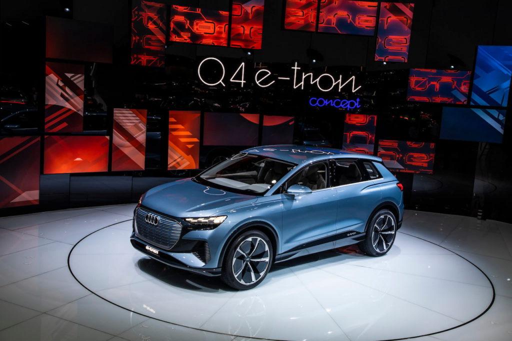 Audi Q4 e-tron concept front quarters live picture