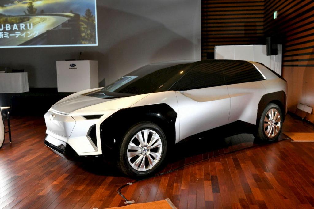 Subaru Evoltis electric SUV concept front quarters