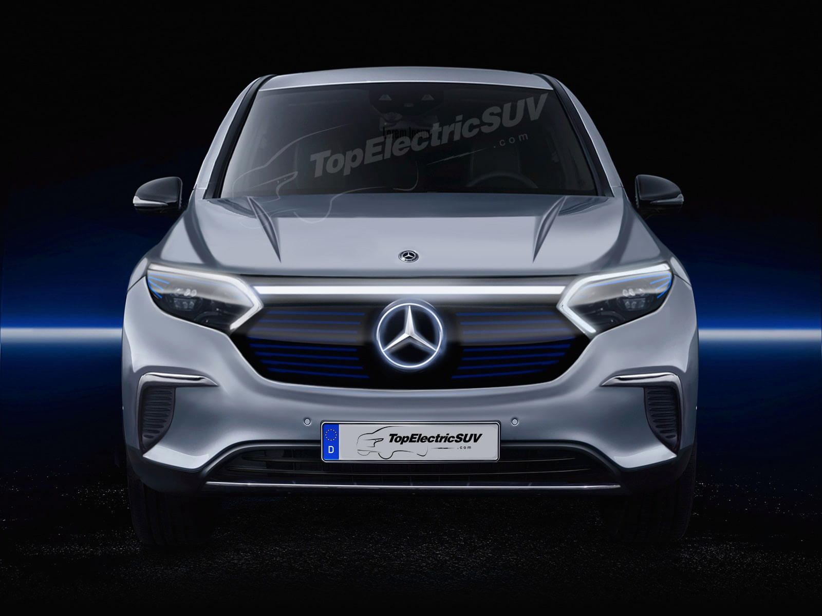 Mercedes EQS SUV front digital rendering