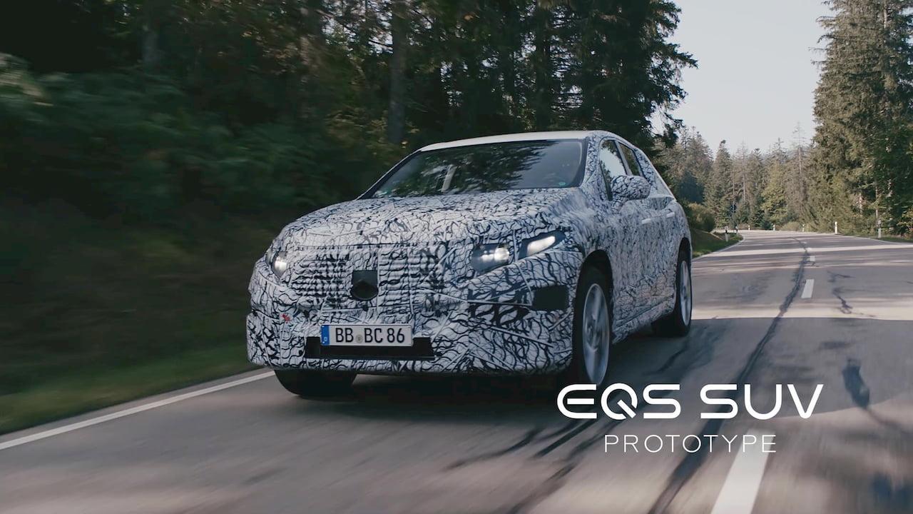 Mercedes EQS SUV front quarters prototype