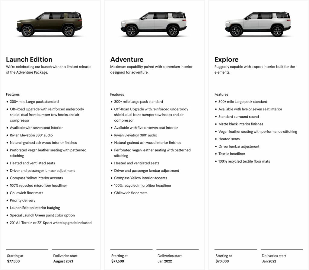 Rivian R1S features prices delivery dates