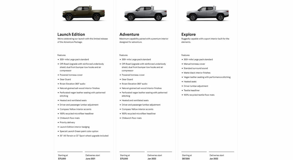 Rivian R1T features price delivery dates