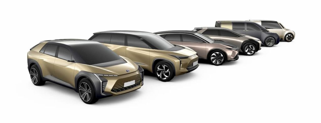 Upcoming Toyota electric cars which may include the Toyota bZ3x and a Toyota bZ5X