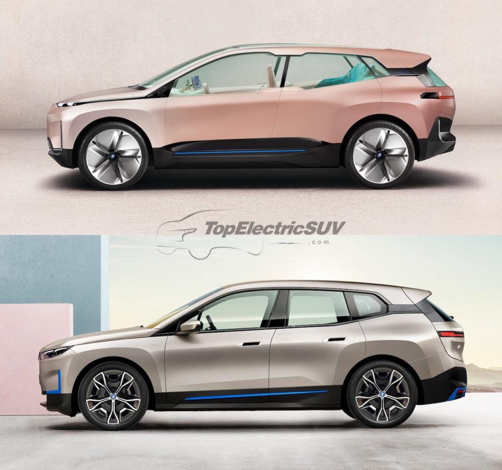 BMW iNEXT concept vs. BMW iX profile side