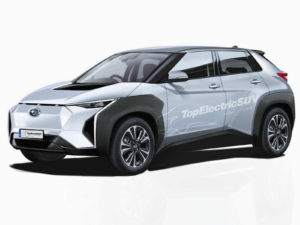 Rendering of the Subaru Evoltis production electric SUV in white