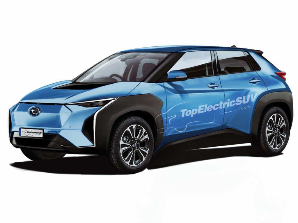 Rendering of the Subaru Evoltis production electric SUV render