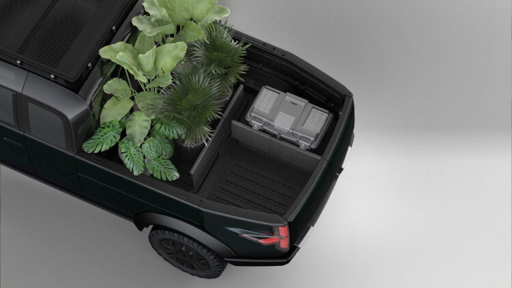 Canoo pickup truck modular bed space dividers
