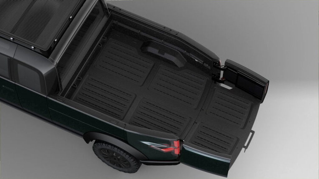 Canoo pickup truck pull-out bed extension