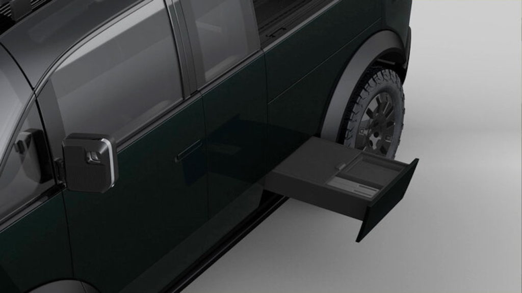 Canoo pickup truck side step and storage
