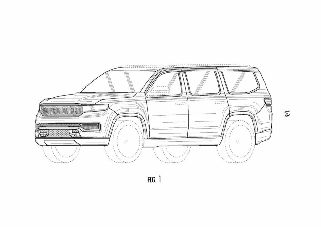 2022 Jeep Grand Wagoneer front quarters patent image
