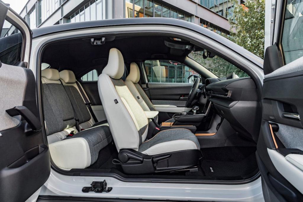 Mazda MX-30 EV electric doors cabin interior seats