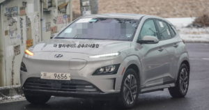 New 2022 Hyundai Kona Electric facelift front quarters