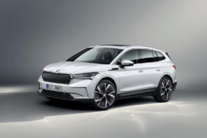 Skoda Enyaq iV front three quarters