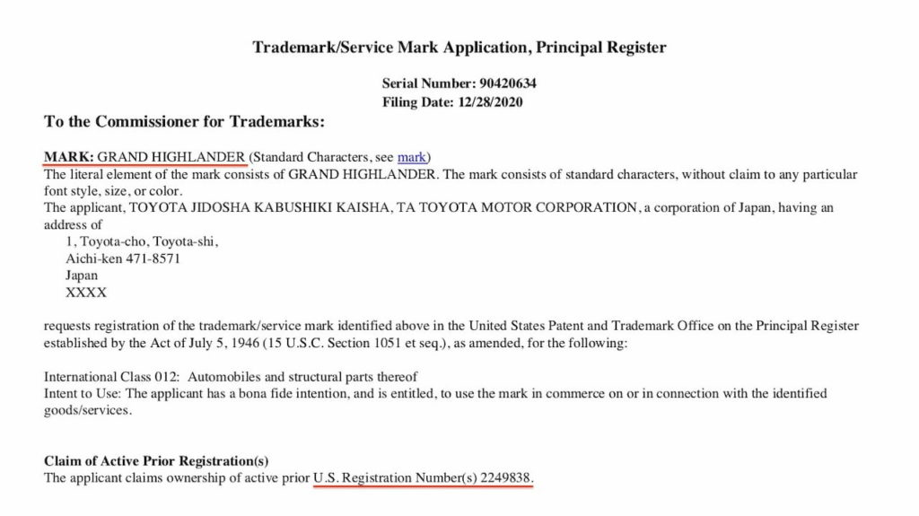Toyota Grand Highlander trademark application