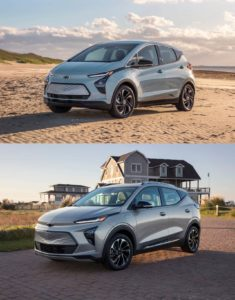 2022 Chevrolet Bolt EUV vs. Bolt EV front three quarters