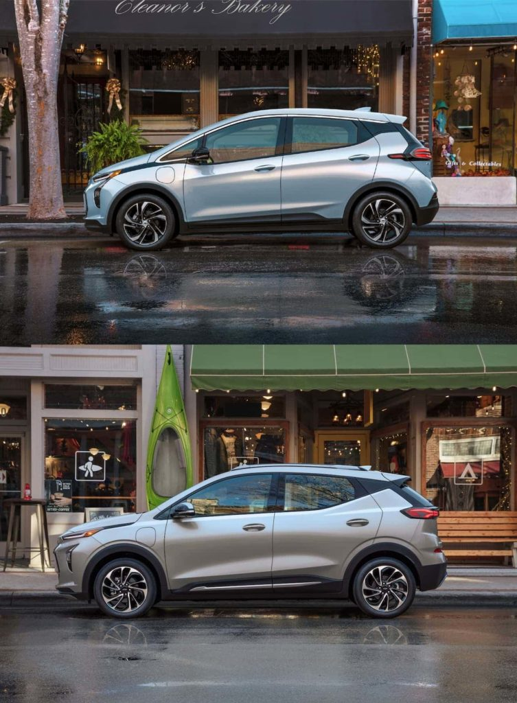 2022 Chevrolet Bolt EUV vs. Bolt EV profile side