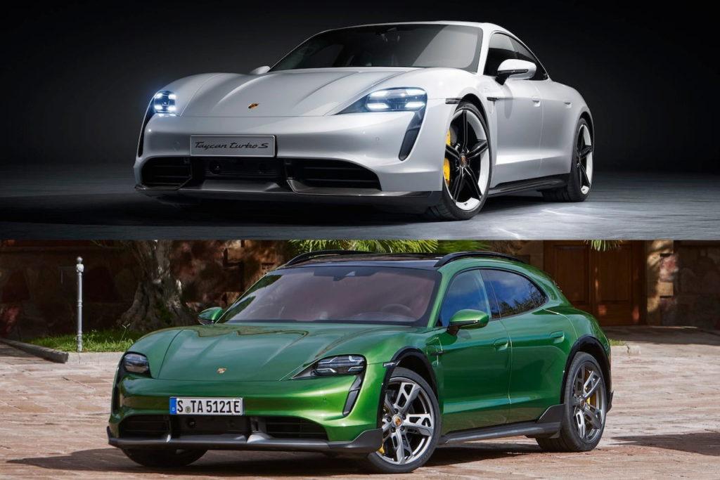 Porsche Taycan Cross Turismo vs. Taycan front quarters