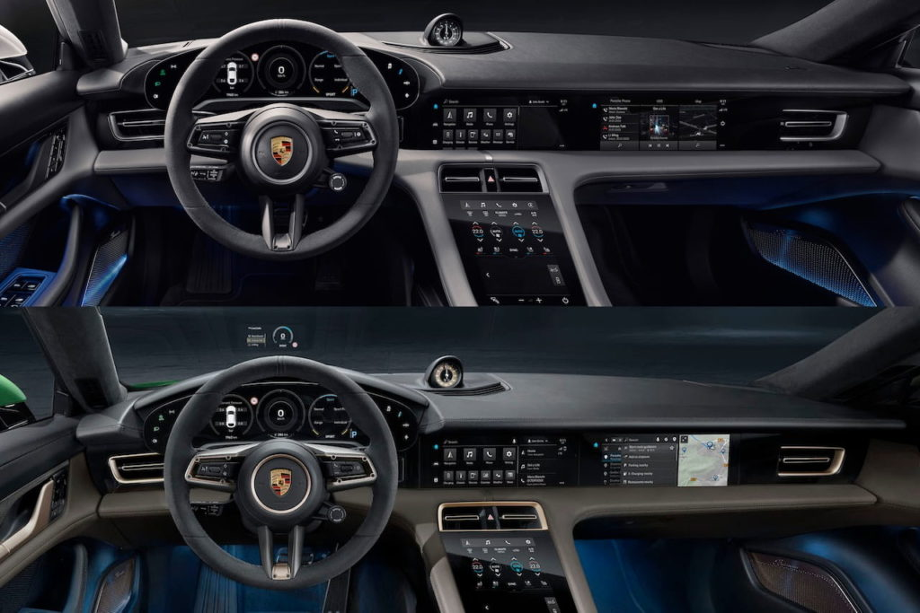 Porsche Taycan Cross Turismo vs. Porsche Taycan interior dashboard