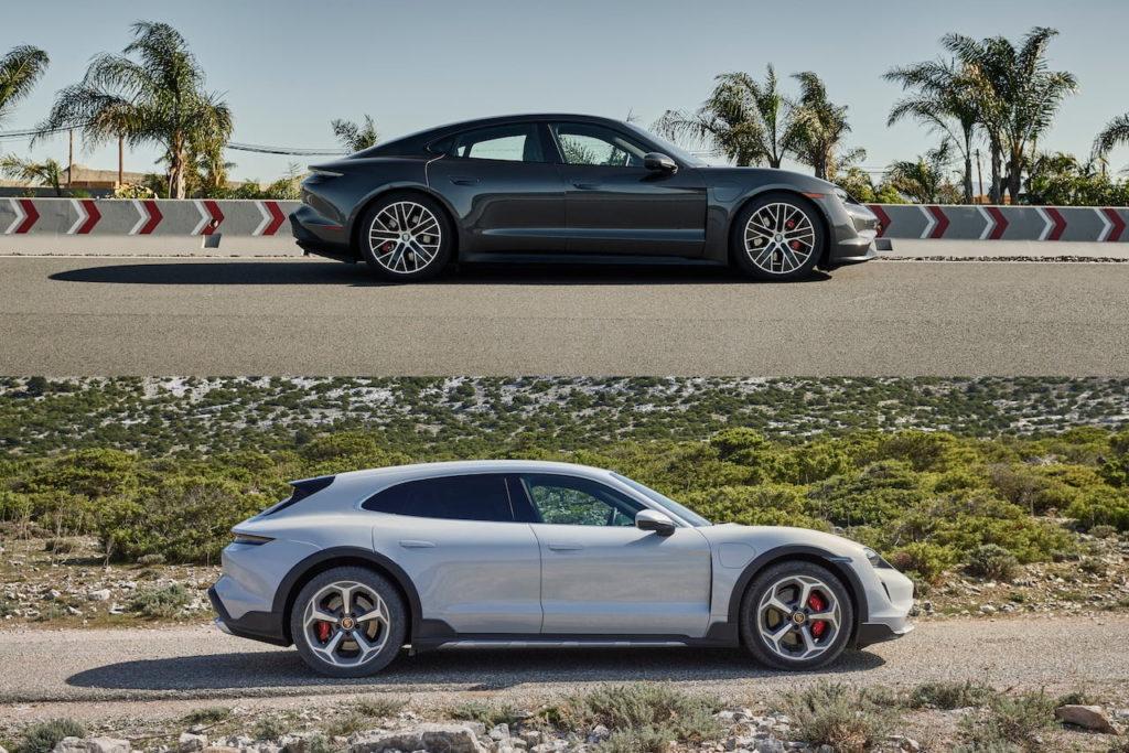Porsche Taycan Cross Turismo vs. Porsche Taycan profile side