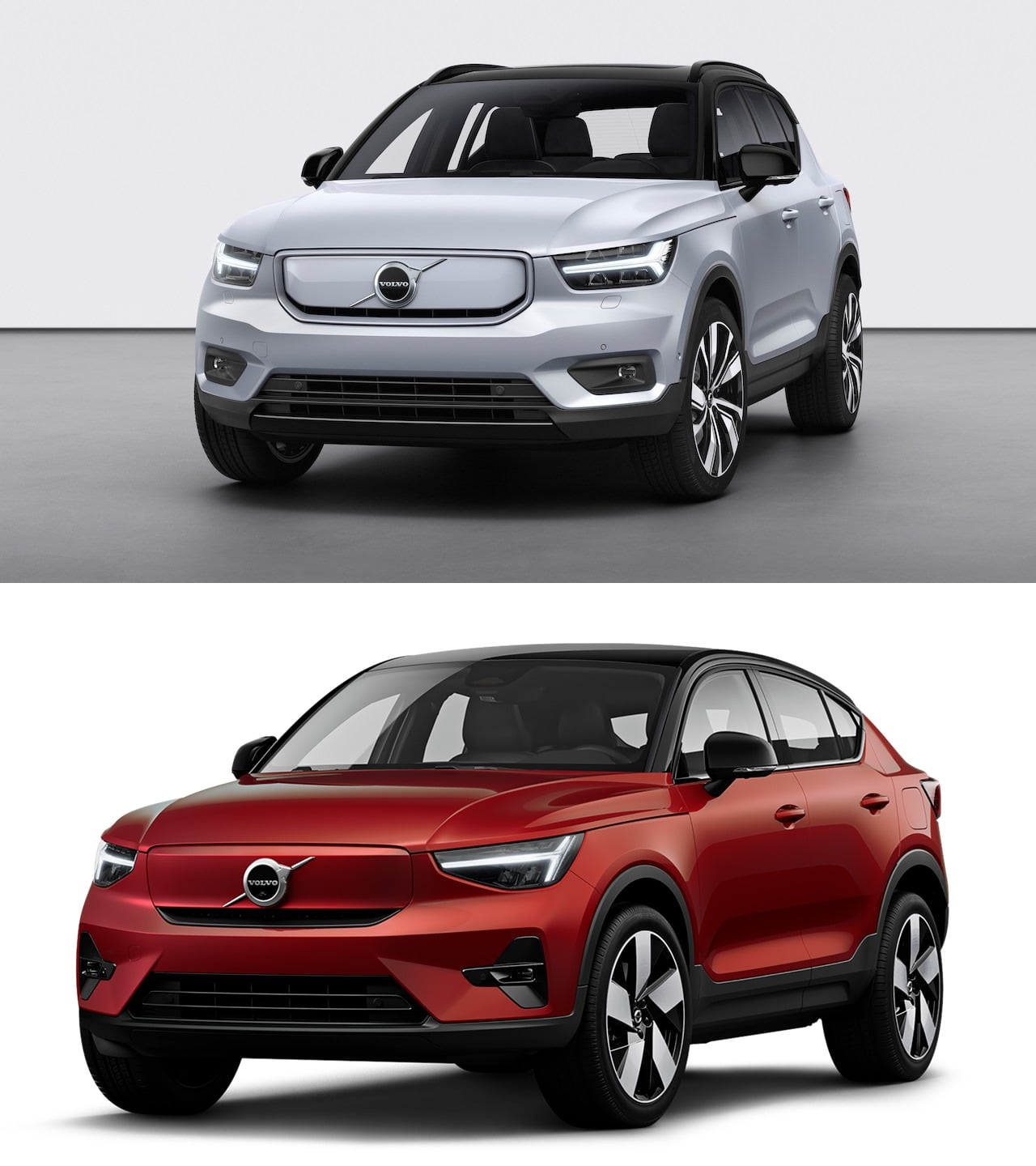 2022 Volvo C40 Recharge vs. XC40 Recharge front quarters