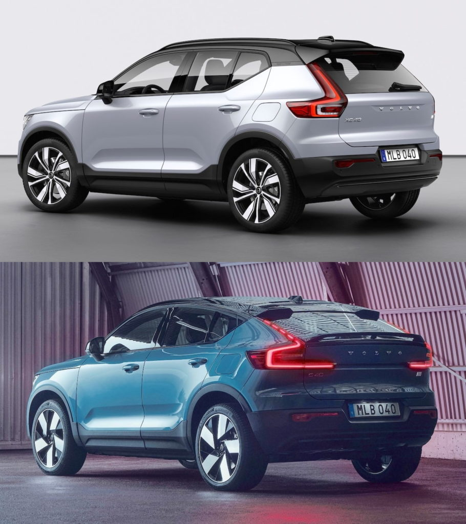 Volvo C40 Recharge rear three quarters vs. Volvo XC40 Recharge rear three quarters