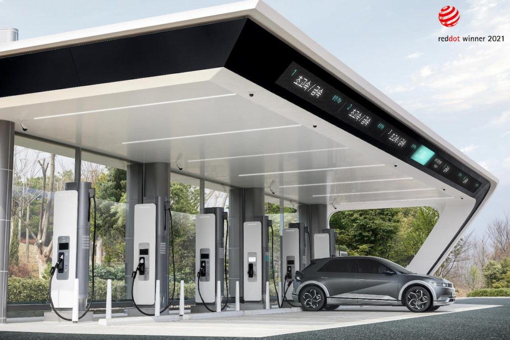 Hyundai E-pit charging station with Ioniq 5