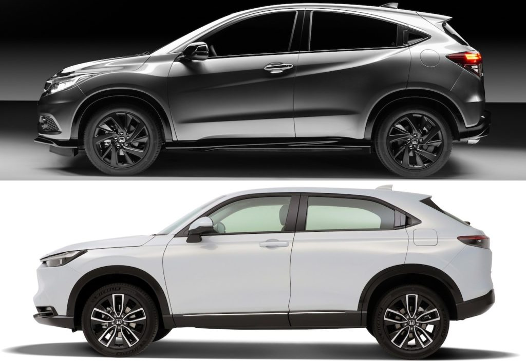 2021 Honda HR-V vs. 2020 Honda HR-V profile side (European spec)