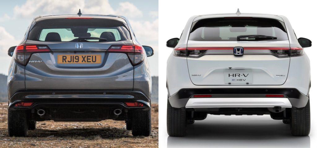2021 Honda HR-V vs. 2020 Honda HR-V rear (European model)