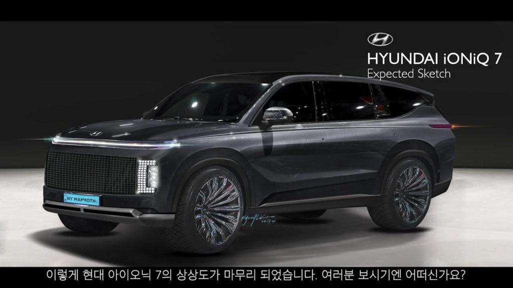 Hyundai Ioniq 7 front three quarters rendering