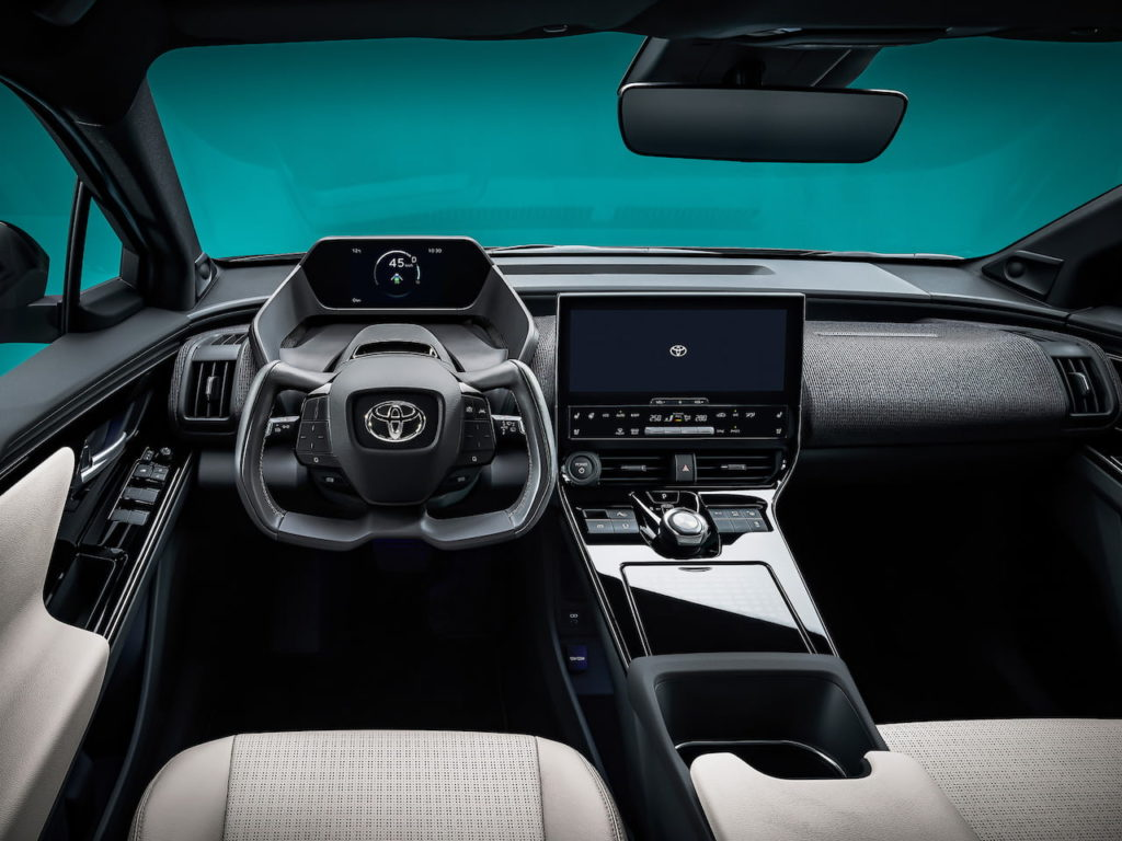 Toyota bZ4X EV interior dashboard