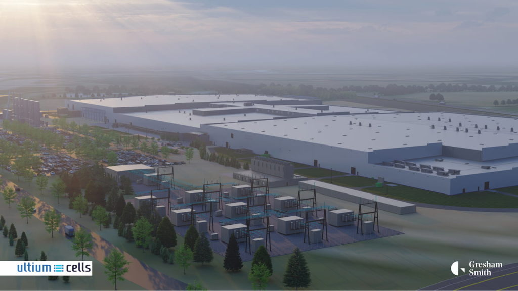 Ultium Cells battery cell plant Spring Hill Tennessee rendering