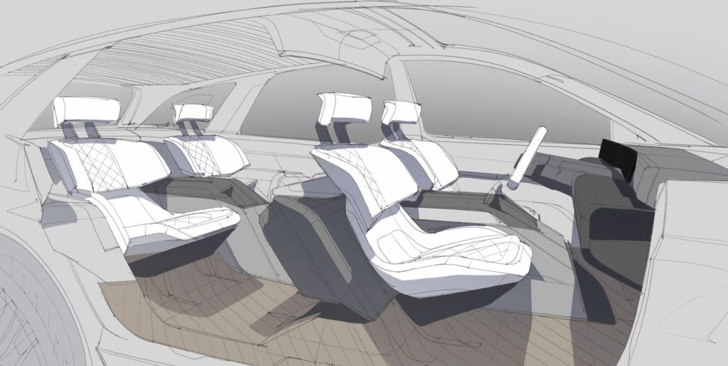 Lincoln electric car interior sketch