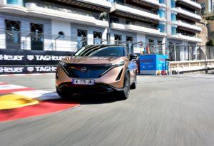 Nissan Ariya front three quarters Monaco