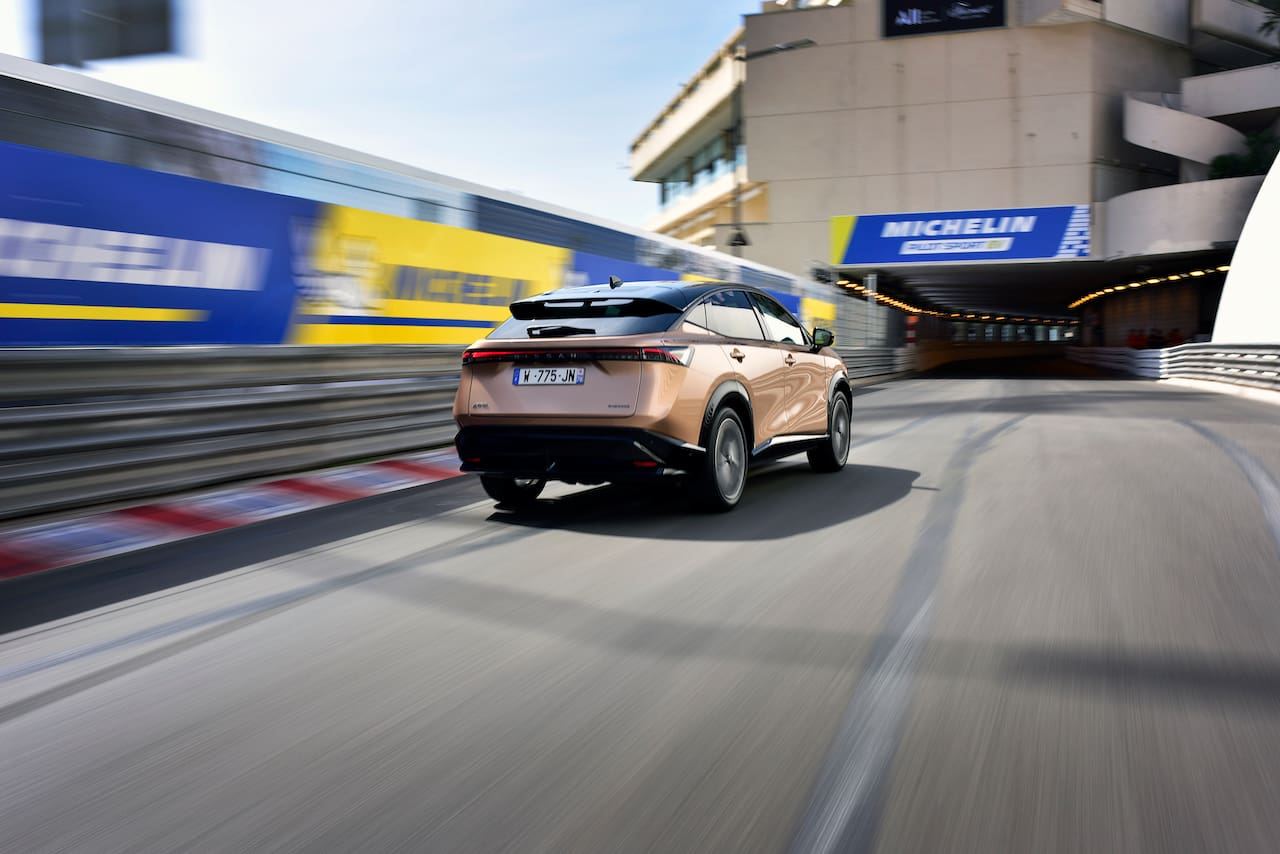 Nissan Ariya rear three quarters Monaco