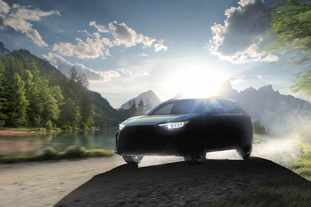 Subaru Solterra front three quarters teaser