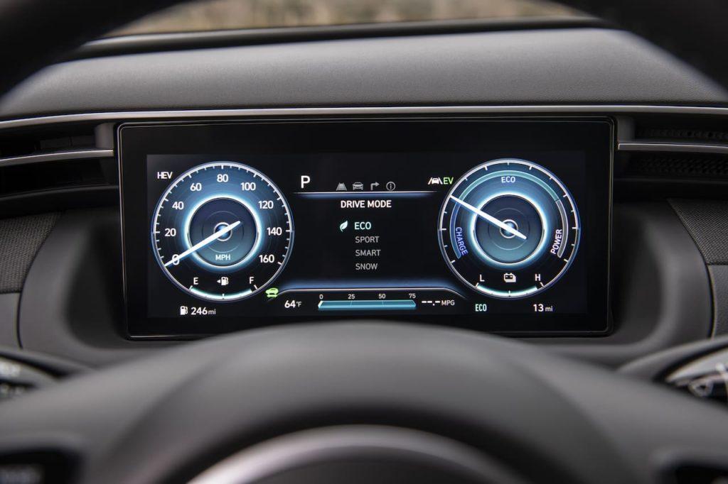 2022 Hyundai Tucson PHEV charging side profile instrument cluster