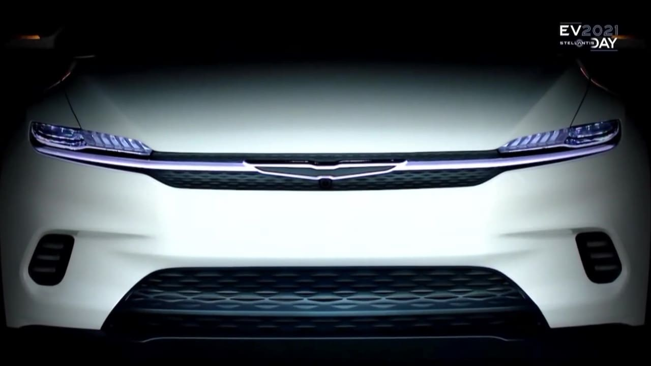 Chrysler electric SUV coupe front teaser