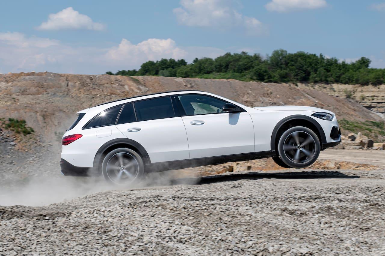 Mercedes C-Class All-Terrain off-road jump in air
