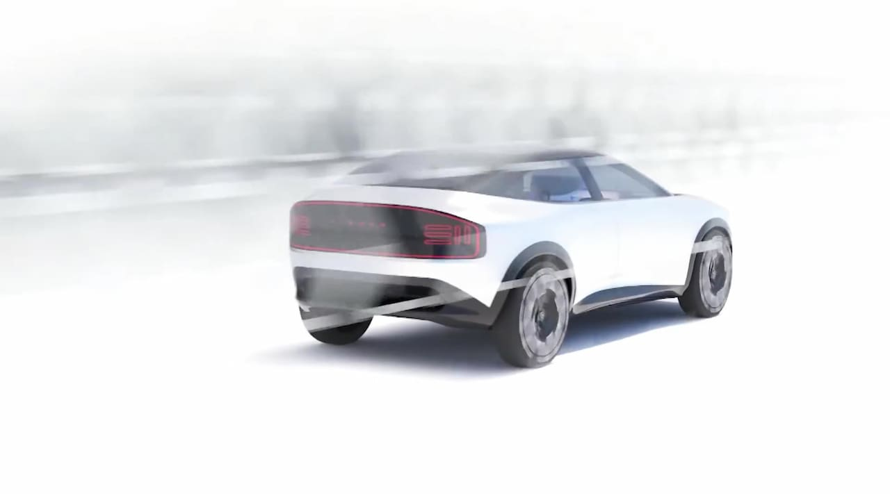 New Nissan electric SUV coupe rear three quarters teaser