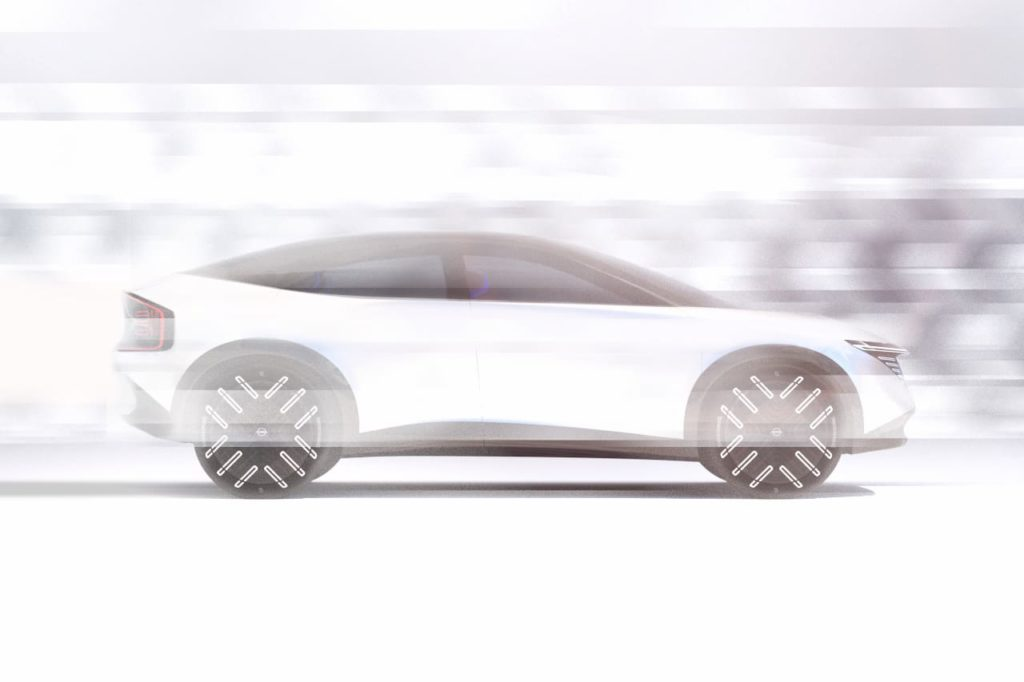 New Nissan electric SUV coupe side profile teaser