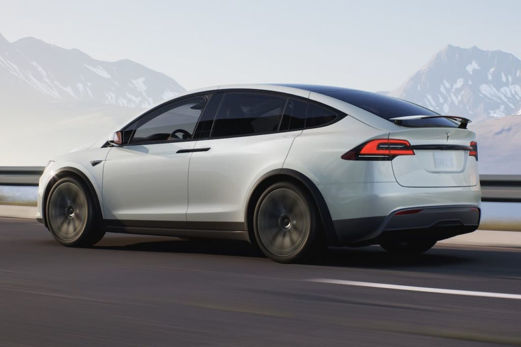 New Tesla Model X 2021 rear three quarters spy shot