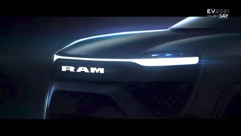 RAM 1500 electric pickup front-end teaser