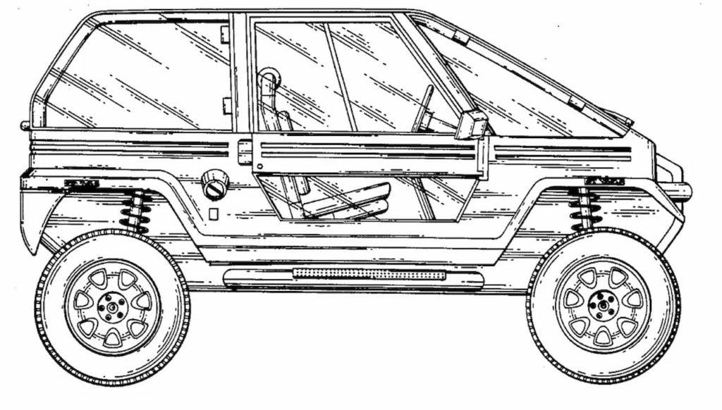 Tesla Cybertruck design patent application reference off-roader