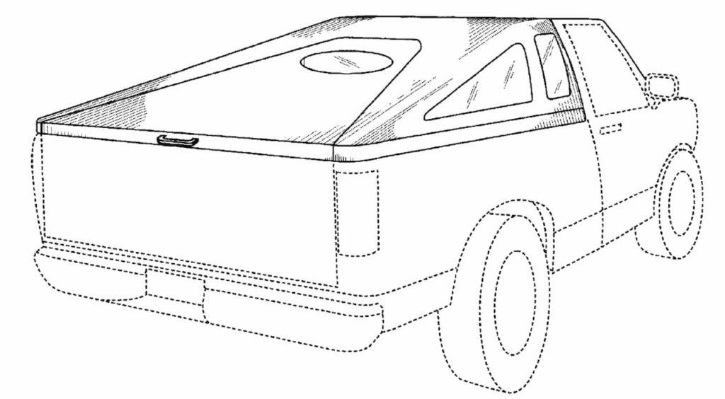 Tesla Cybertruck design patent application reference pickup bed