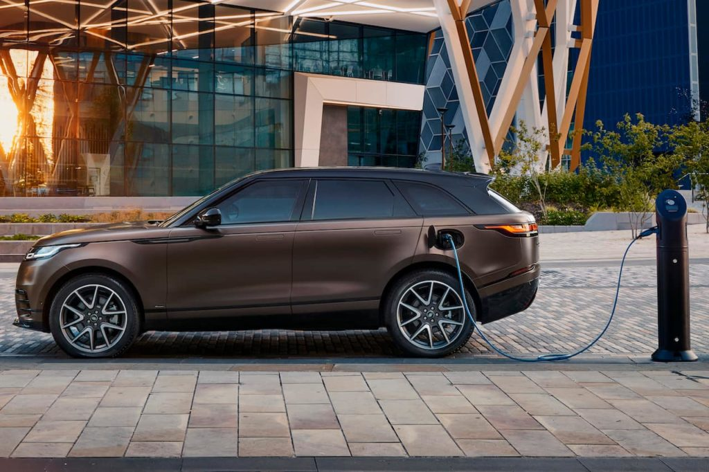 2022 Range Rover Velar P400e Tourmaline Brown charging