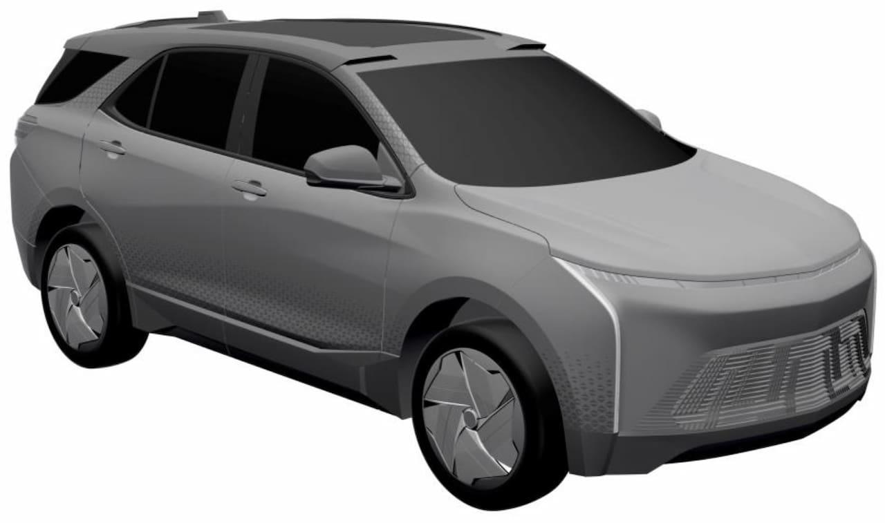 Chevrolet Equinox EV front three quarters patent image