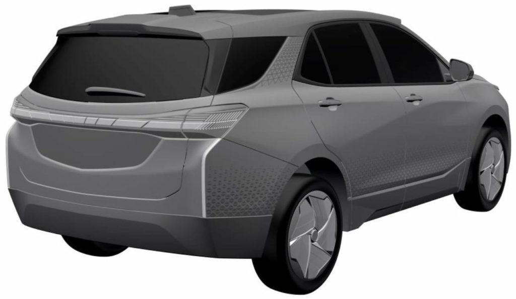 Chevrolet Equinox EV rear three quarters patent image