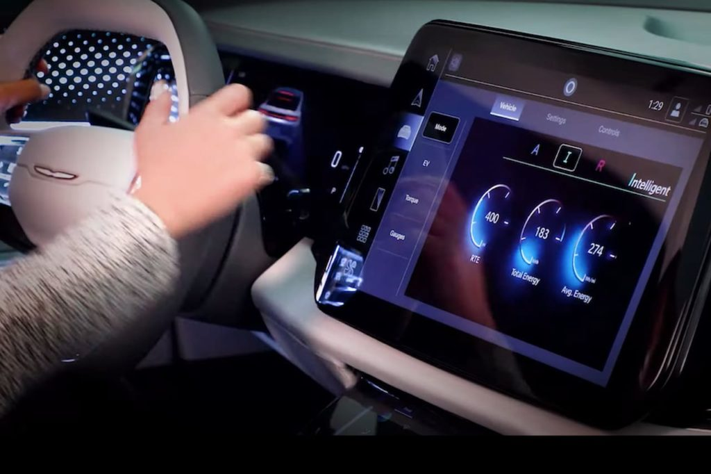 Chrysler electric SUV interior infotainment teaser
