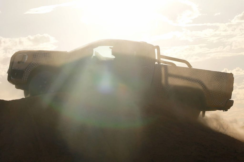Next-gen Ford Ranger side profile test mule
