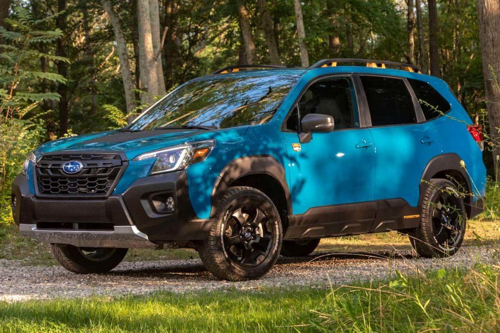 US-spec 2022 Subaru Forester Wilderness front three quarters
